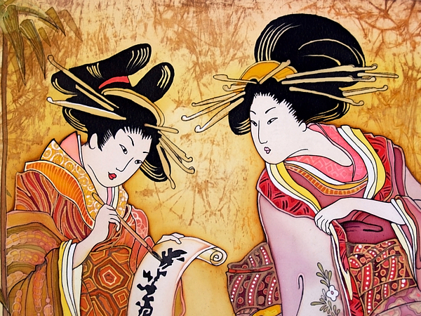An illustration of two Japanese geishas.